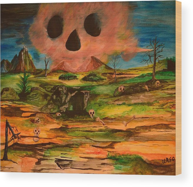 Valley Of The Skulls Wood Print featuring the painting Valley Of The Skulls by Maria Urso
