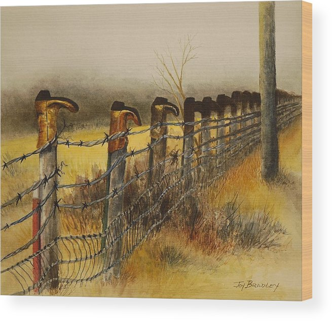 Boots Wood Print featuring the painting Welcome by Joy Bradley