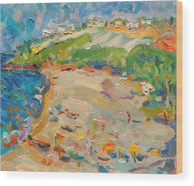 Landscape Wood Print featuring the painting Beach In Goa India by Ivan Filichev