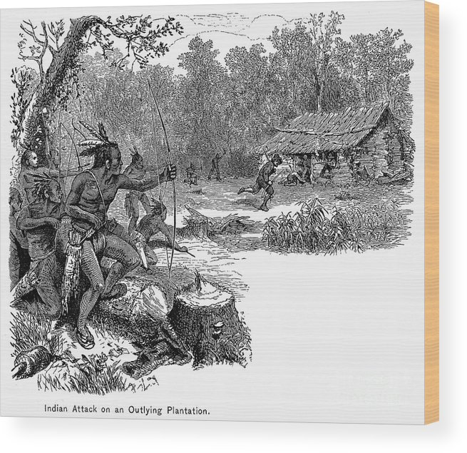 1640 Wood Print featuring the photograph Native American Attack, C1640 by Granger
