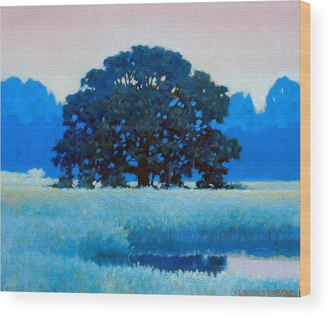 Landscape Wood Print featuring the painting Oak Tree by Kevin Lawrence Leveque