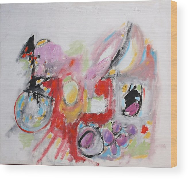Abstract Wood Print featuring the painting Still Life With Fruit by Michael Henderson