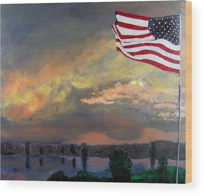 Flag Wood Print featuring the painting 9 11 2001 by Stan Hamilton