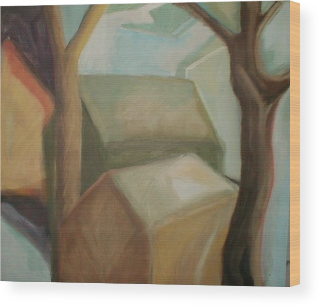 Suburban Wood Print featuring the painting Abstract Backyard by Ron Erickson