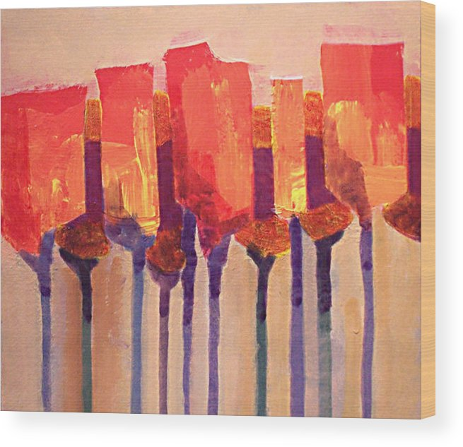 Impressionist Wood Print featuring the painting Afternoon Tulips by Dalas Klein