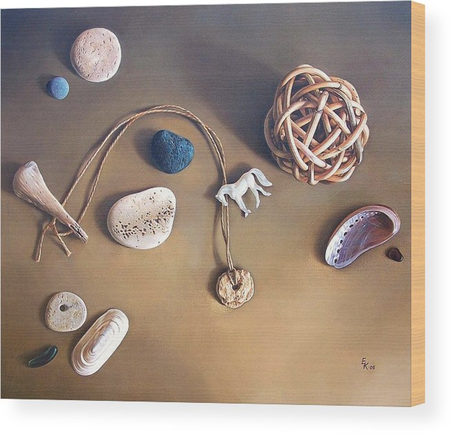 Still Life Wood Print featuring the painting Almost Forgotten Memories by Elena Kolotusha