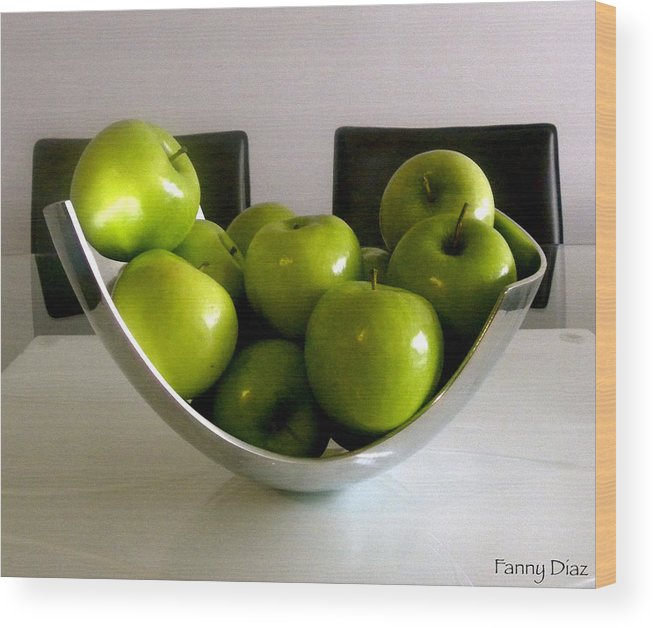 Green Wood Print featuring the photograph Apples In A Silver Vase by Fanny Diaz