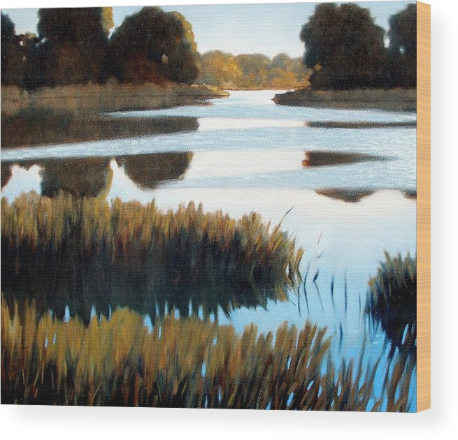Water Wood Print featuring the painting Black Bayou by Kevin Lawrence Leveque