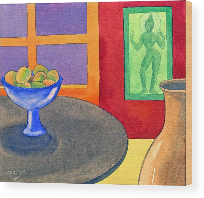 Interior Still Life Indian Deity Wood Print featuring the painting Bowl Of Mangoes by Jennifer Baird