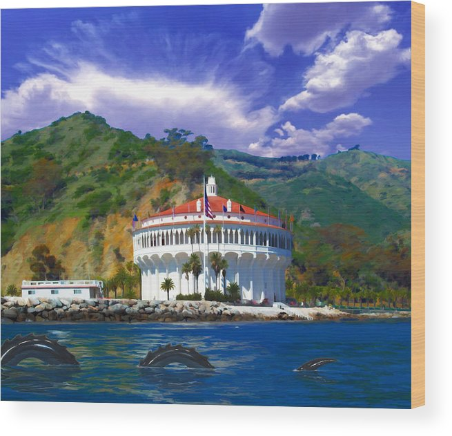 Catalina Wood Print featuring the digital art Casino From The Water by Snake Jagger