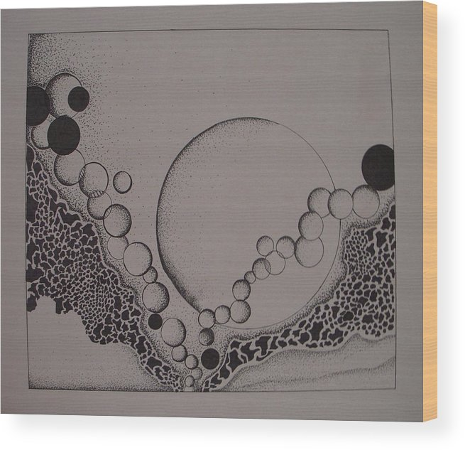 Abstract Wood Print featuring the drawing Circles by Moby Kane