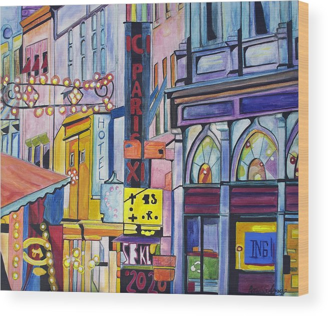 Cityscape Wood Print featuring the painting Colors Of Paris by Patricia Arroyo