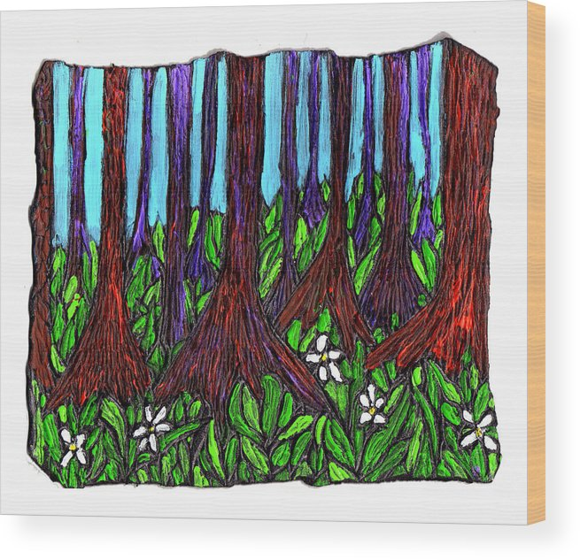 Trees Wood Print featuring the painting Edge Of The Swamp by Wayne Potrafka