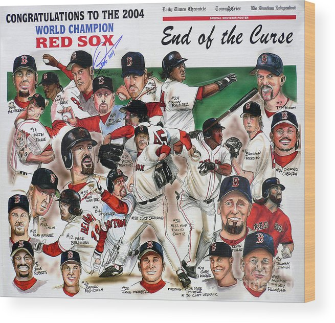 Mbl Wood Print featuring the painting End Of The Curse Red Sox Newspaper Poster by Dave Olsen