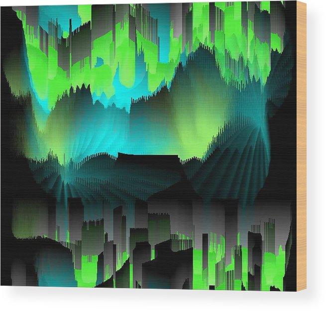 Did Art Abstract.dreams.wishes.future.past.the Comparison.colors.  The Silhouettes Of The Houses.  Wood Print featuring the digital art Far Dreams by Dr Loifer Vladimir