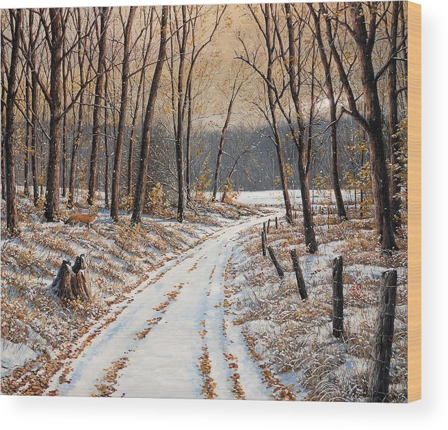 Landscape Wood Print featuring the painting First Day Of Winter by Jake Vandenbrink