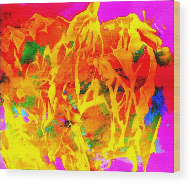 Abstract Wood Print featuring the painting First Love by Bruce Combs - REACH BEYOND