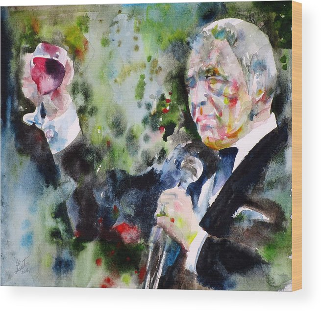 Frank Wood Print featuring the painting Frank Sinatra - Watercolor Portrait.5 by Fabrizio Cassetta