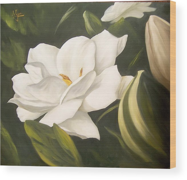 Gardenia Flower Wood Print featuring the painting Gardenia by Natalia Tejera