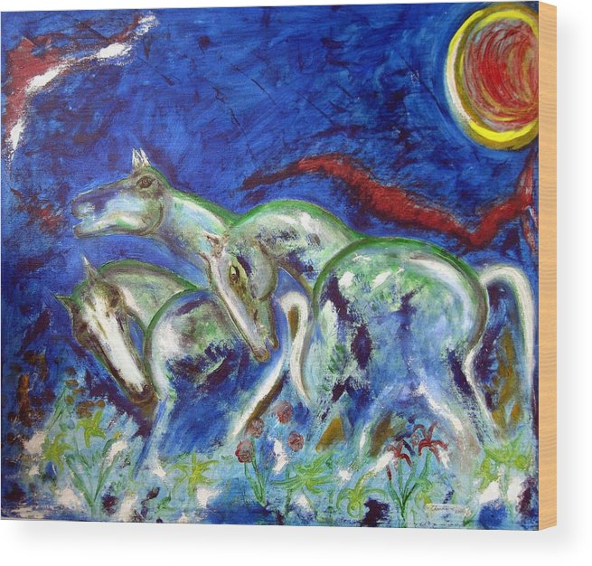 Horse Wood Print featuring the painting Green Horses by Narayanan Ramachandran