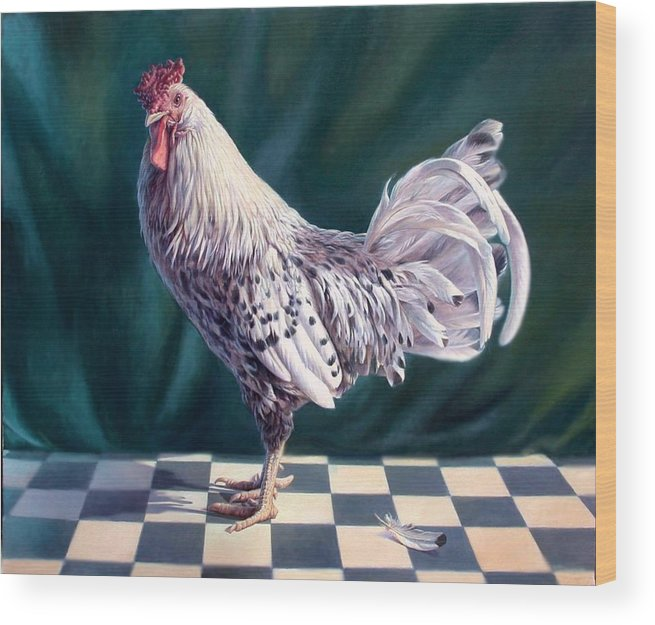 Chicken Wood Print featuring the painting Hamburger Rooster by Hans Droog