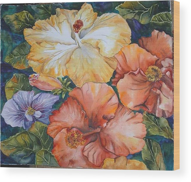 Watercolor Wood Print featuring the painting Hibiscus by Diane Ziemski