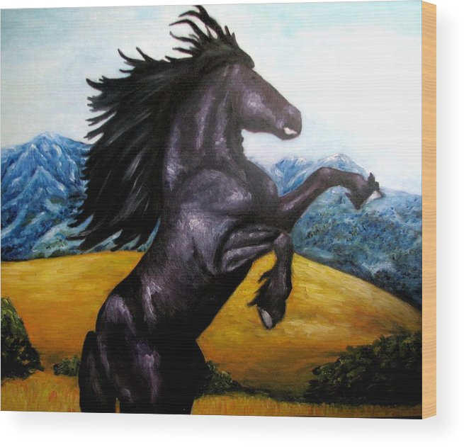 Horse Wood Print featuring the painting Horse Oil Painting by Natalja Picugina