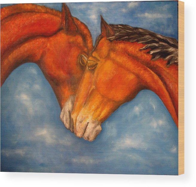 Horses Wood Print featuring the painting Horses In Love.oil Painting by Natalja Picugina