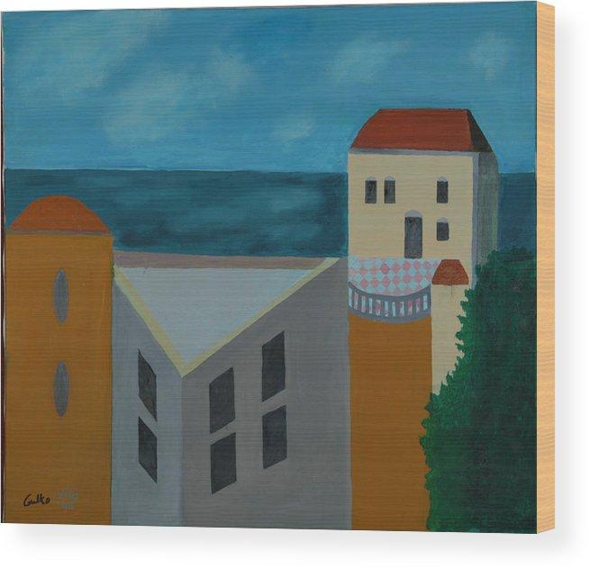 Arab Jaffa Deascape Wood Print featuring the painting House In Jaffa by Harris Gulko
