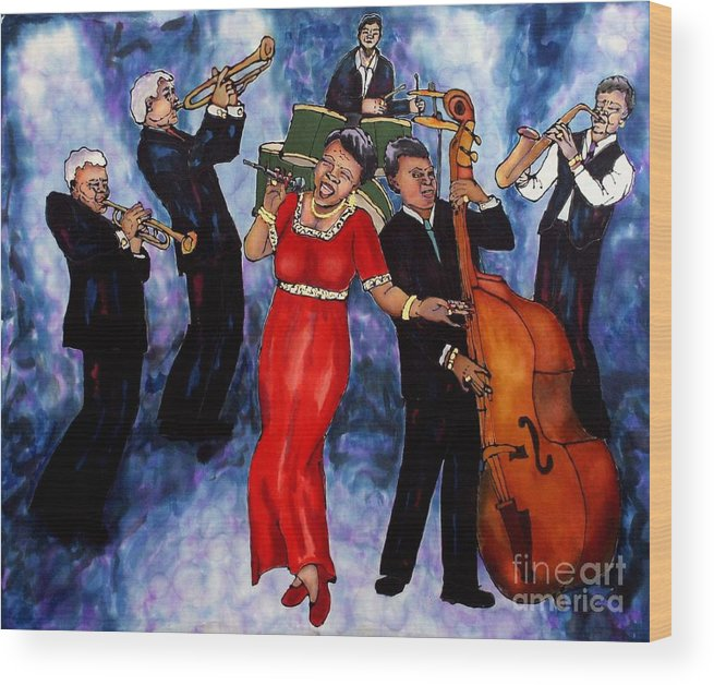 Jazz Wood Print featuring the painting Jazz Band by Linda Marcille