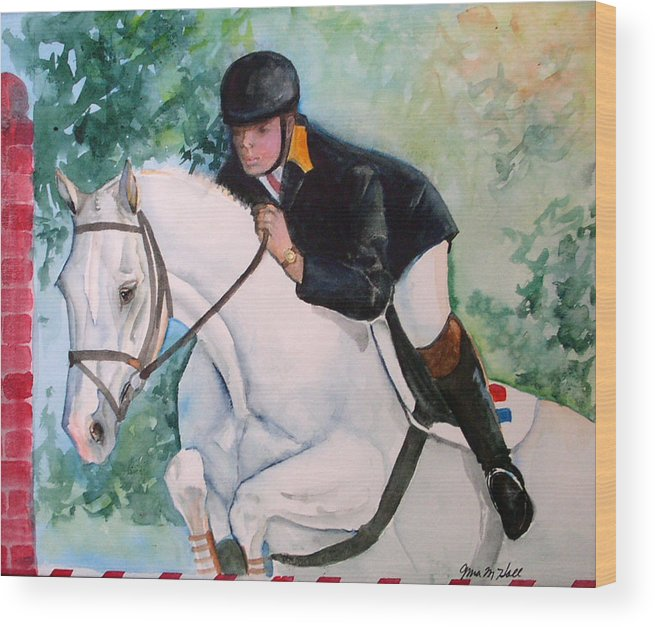 Equine Wood Print featuring the painting Jumper by Gina Hall