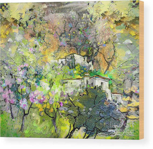 Landscape Painting Wood Print featuring the painting La Provence 07 by Miki De Goodaboom