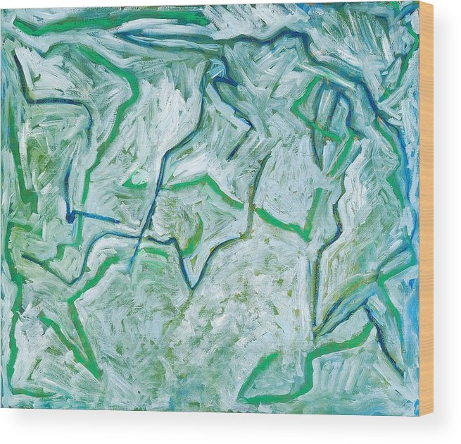 Abstract Green White Rock Drawing Lines Wood Print featuring the painting Maria Verde by Joan De Bot