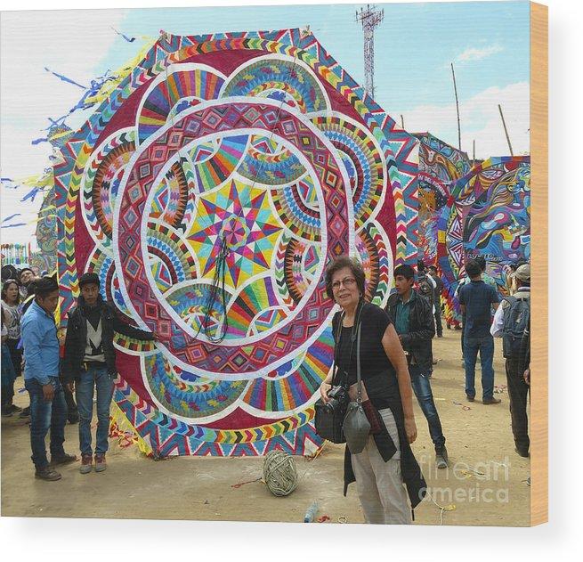 Sumpango Giant Kite Festival Wood Print featuring the photograph Mayan Patterns Kite by Nettie Pena