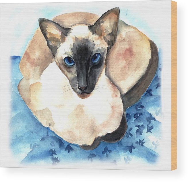 Feline Wood Print featuring the painting Ming by Gina Hall