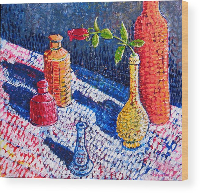Still Life Wood Print featuring the painting One Rose by Rollin Kocsis