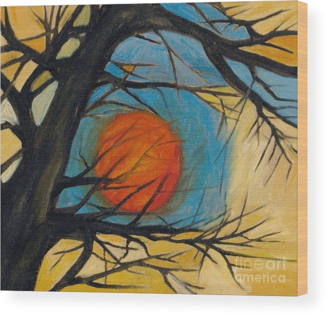 Absract Tree Landscape Original Painting Leila Atkinson Moon Wood Print featuring the painting Orange Moon by Leila Atkinson