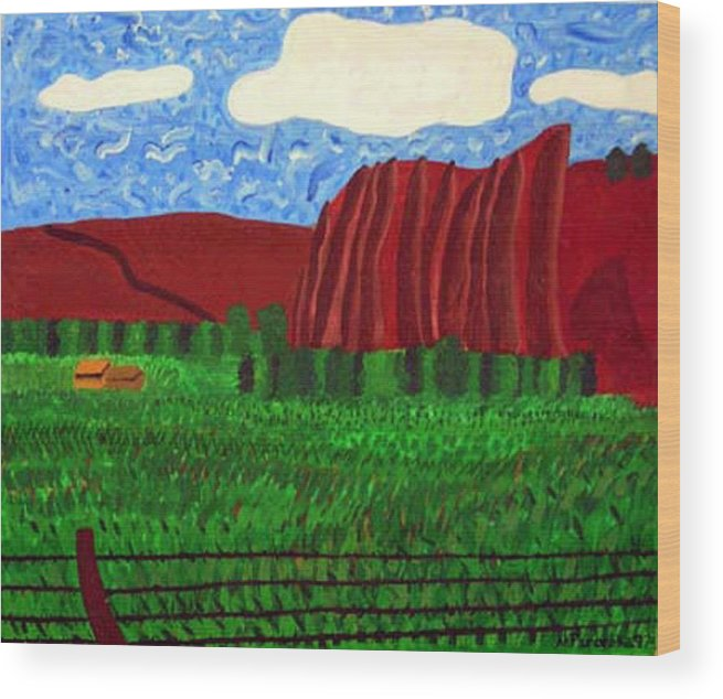 Landscape Wood Print featuring the painting Palisades Co by Natalee Parochka
