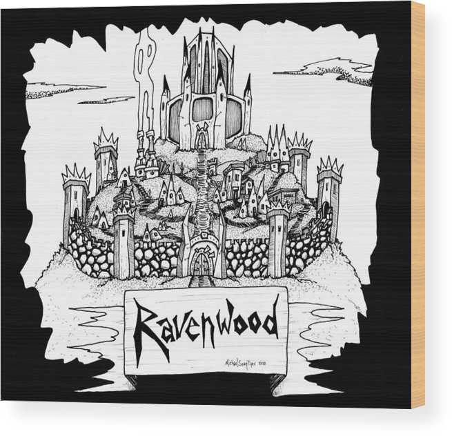 Fantasy Wood Print featuring the drawing Ravenwood by Michael Sean Piper