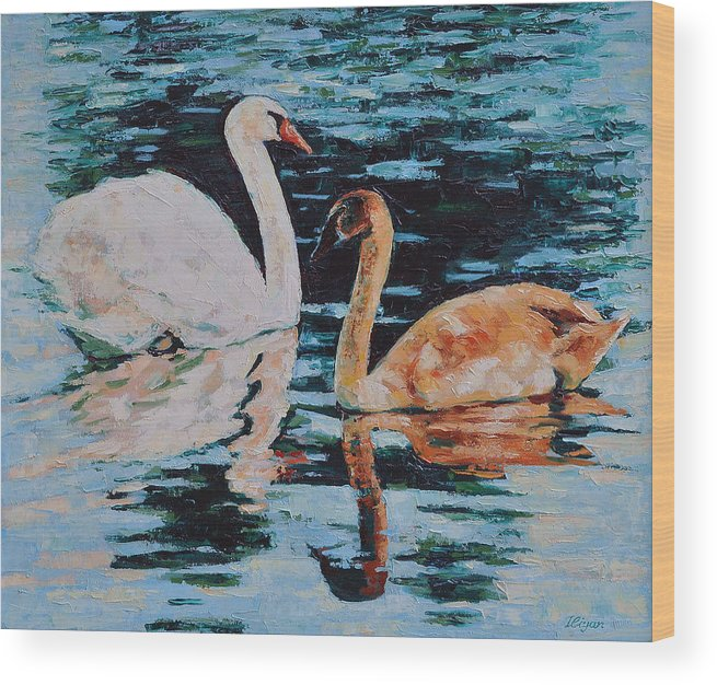 Blue Wood Print featuring the painting Reflections by Iliyan Bozhanov