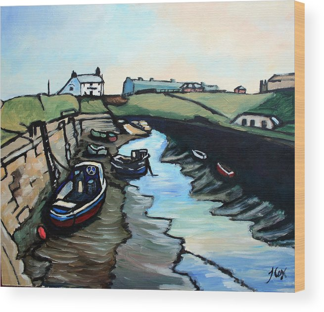 Seascape Wood Print featuring the painting Seaton Sluice Harbour by John Cox