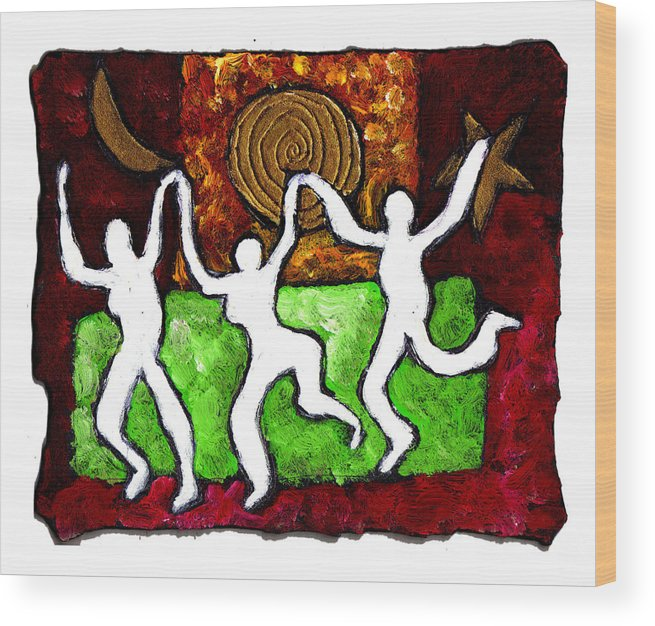 Dance Wood Print featuring the painting Spirits Of The Dance by Wayne Potrafka