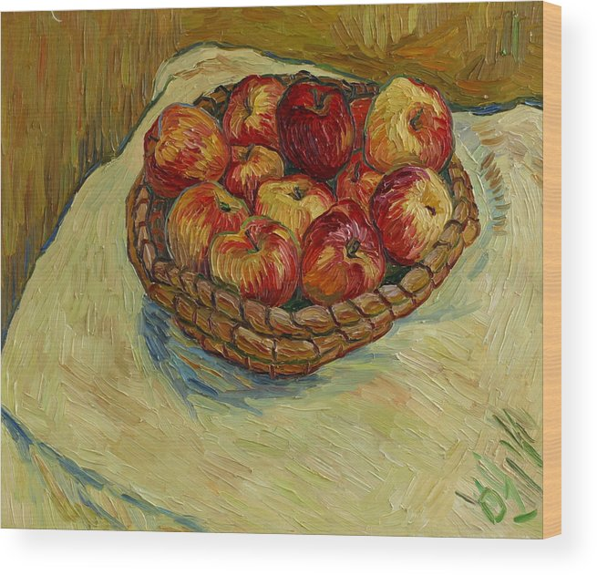 Still Life Wood Print featuring the painting Still Life With Moravian Apples by Vitali Komarov