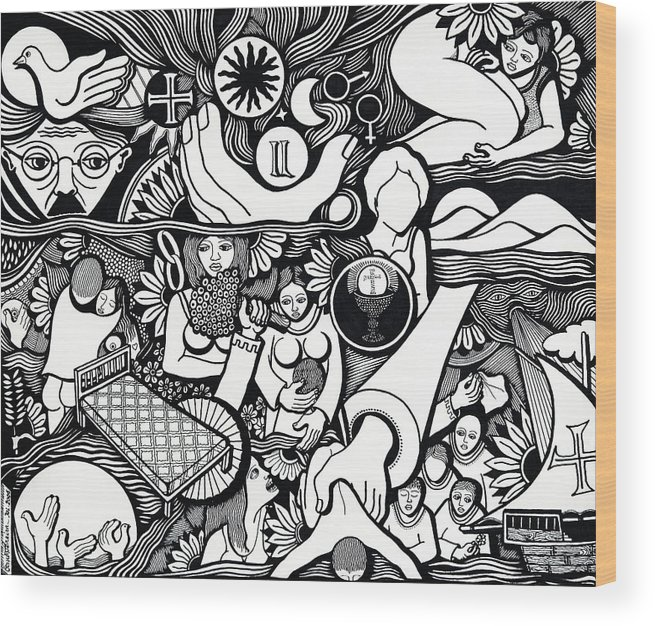 Drawing Wood Print featuring the drawing Symbols I Am Sick Of Symbols by Jose Alberto Gomes Pereira