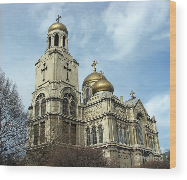 Cathedral Photograph Wood Print featuring the photograph The Cathedral In Varna by Iglika Milcheva-Godfrey