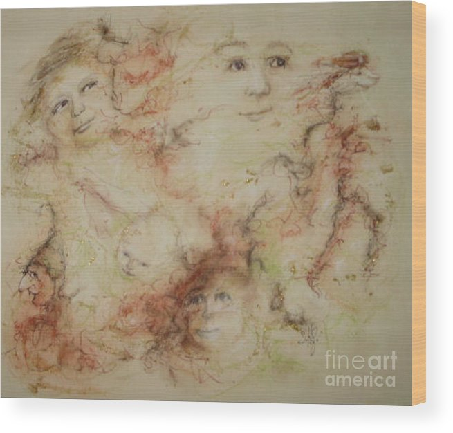 Elves Wood Print featuring the drawing The Elfin Dash by Stephanie H Johnson