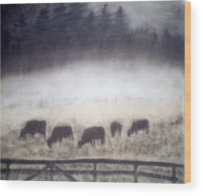 Landscape Wood Print featuring the painting The Grazers by Jack Spath