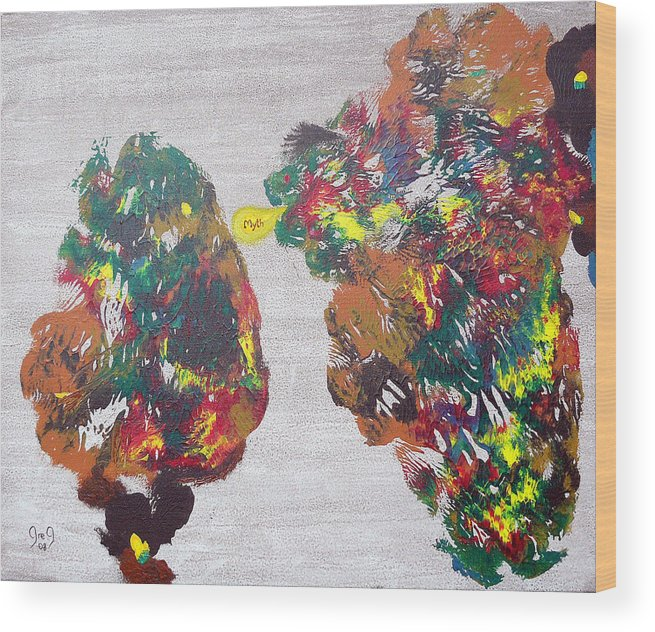 Pessoa Wood Print featuring the painting The Myth Is Nothing That Is All O Mito E O Nada Que E Tudo by Greg Gierlowski