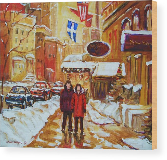 Streetscene Wood Print featuring the painting The Ritz Carlton by Carole Spandau