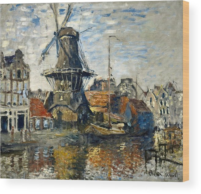 Amsterdam Wood Print featuring the painting The Windmill On The Onbekende Gracht, Amsterdam 1874 by Claude Monet
